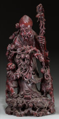 Asian:Chinese, A Chinese Carved Hardwood Shoulao, 19th century. 30 inches high(76.2 cm). ...