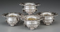 Silver Holloware, British:Holloware, Four George IV William Watson & Thomas Bradbury Silver FootedSalt Cellars, Sheffield, England, circa 1827. Marks: (lion pas...(Total: 4 Items)