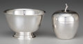 Silver Holloware, American:Bowls, A Tiffany & Co Silver Apple-Form Covered Box and PaulRevere-Style Bowl, New York, New York, 20th century. Marks:TIFFANY ... (Total: 2 Items)