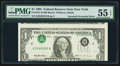 Error Notes:Inverted Third Printings, Fr. 1921-B $1 1995 Federal Reserve Note. PMG About Uncirculated 55EPQ.. ...