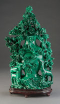 Asian:Chinese, A Large Chinese Carved Malachite Covered Urn with Stand. 14 incheshigh (35.6 cm) (without stand). ... (Total: 2 Items)