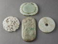 Asian:Chinese, A Group of Four Chinese Carved Jade Plaques. 3-1/4 h x 1-3/4 winches (8.3 x 4.4 cm). ... (Total: 4 Items)