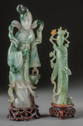 Asian:Chinese, Two Chinese Carved Jade Figures of Guanyin with Stands. 5 incheshigh (12.7 cm) (larger, without stand). ... (Total: 3 Items)