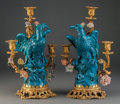 Decorative Arts, French:Lamps & Lighting, A Pair of Louis XV-Style Figural Gilt Bronze and Chinese PorcelainThree-Light Candelabra, late 19th century and later. 15 i...(Total: 2 Items)