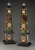 Decorative Arts, Continental:Other , A Pair of Specimen Marble and Micromosaic Obelisks, 20th century.21-3/4 inches high (55.2 cm). ... (Total: 2 Items)