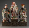 Asian:Chinese, A Group of Three Chinese Famille Rose Enameled Porcelain Figures with Bronze Stand: Star Gods. Marks: (seal to under... (Total: 4 Items)