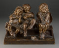 Sculpture, Juan Clara (Spanish, 1875-1958). Three Children. Bronze with brown patina. 8 inches (20.3 cm) high. Inscribed on the bas...