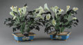 Asian:Chinese, A Pair of Chinese Hardstone Calla Lily Plants with CloisonnéStands, 20th century. 16 h x 20 w x 18 d inches (40... (Total: 2Items)