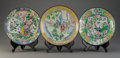 Asian:Chinese, A Group of Three Chinese Enamel on Copper Plates, 19th century.11-1/4 inches diameter (28.6 cm) (largest). ... (Total: 3 Items)