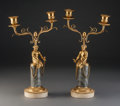 Decorative Arts, French:Lamps & Lighting, A Pair of French Empire Gilt Bronze and Gris Marble FiguralTwo-Light Candelabra, early 19th century. 13-1/2 inches high (34...(Total: 2 Items)