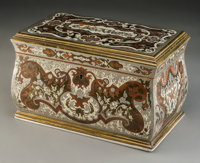 A French Boulle Cigar Box, 19th century 6-1/2 h x 10-1/2 w x 6-1/4 d inches (16.5 x 26.7 x 15.9 cm)