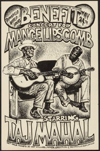 Benefit Concert for Mance Lipscomb featuring Taj Mahal at the Armadillo World Headquarters (AWH, 1973). Concert Poster (...