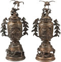Asian:Japanese, A Pair of Japanese Bronze Covered Incensers. 30-3/4 inches high(78.1 cm). ... (Total: 6 Items)