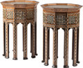 Furniture : Continental, A Pair of Moorish-Style Inlaid Side Tables, early 20th century.29-1/2 h x 19-1/4 w x 19-1/4 d inches (74.9 x 48.9 x 48.9 cm...(Total: 2 Items)