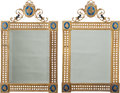 Decorative Arts, Continental:Other , A Pair of Neoclassical-Style Gilt Bronze and Enameled MirrorFrames, 20th century. 34-1/2 h x 21 w inches (87.6 x 53.3 cm). ...(Total: 2 Items)