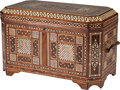 Furniture : Continental, A Moorish Trunk with Bone, Mother-of-Pearl and Ebony Inlay, 20th century. 24 h x 39 w x 22 d inches (61.0 x 99.1 x 55.9 cm)...