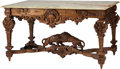 Furniture , A French Régence-Style Carved Walnut Center Table with Onyx Top, early 20th century. 30-1/2 h x 56 w x 34 d inches (77.5 x 1... (Total: 2 Items)