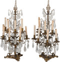 Decorative Arts, French:Lamps & Lighting, A Large Pair of Gilt Metal Girandole with Rock Crystal andCut-Glass Prisms, late 19th century in part. 37 inches high(94.0... (Total: 2 Items)