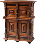 Furniture : Continental, A Flemish Baroque-Style Oak and Parcel Ebonized Table Top Cabinet, 19th century. 32 h x 26-1/2 w x 10-1/2 d inches (81.3 x 6... (Total: 2 Items)