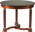 Furniture : French, An Empire-Style Mahogany Center Table with Gilt Bronze Mounts andGreen Granite Top, 20th century. 28-1/2 h x 36-3/4 d inche...(Total: 2 Items)