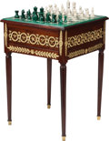 Furniture : Continental, A Russian Empire-Style Mahogany and Gilt Bronze Games Table withMalachite and Alabaster Top, late 19th century in part. 28-...(Total: 2 Items)