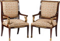 Furniture : French, A Pair of French Empire-Style Upholstered Mahogany Fauteuil withGilt Bronze Mounts, 20th century. 41 h x 25 w x 21 d inches...(Total: 2 Items)