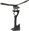Asian:Japanese, A Japanese Cast Bronze Figure of an Eagle on Stand, Meiji Periodand later. 68 h x 60 w x 34 d inches (172.7 x 152.4 x 86.4 ...
