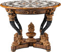 Furniture : French, A Neoclassical-Style Partial Gilt and Ebonized Center Table withSpecimen Marble Top, 20th century. 33 h x 44 d inches (83.8...(Total: 2 Items)