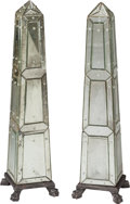 Decorative Arts, French, A Pair of Venetian-Style Mirrored Obelisks, 20th century. 36 incheshigh (91.4 cm). ... (Total: 2 Items)