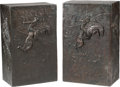 Bronze:Western, A Near Pair of Bronze Pedestals with Cowboy Motif after Remington,late 20th century. Marks to both: Mario F. Nardini, 1-3...(Total: 2 Items)