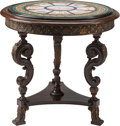 Furniture : Continental, A Baroque Revival Oak Center Table with Grand Tour Micro MosaicTop, 19th century and later. 32 h x 34 d inches (81.3 x 86.4...(Total: 2 Items)