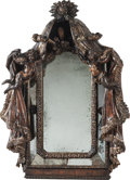Decorative Arts, Continental:Other , A Venetian Carved Polychrome Curtained Mirror with Putti, 18th century. 54-1/2 h x 36 w x 8 d inches (138.4 x 91.4 x 20.3 cm...