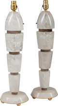 Decorative Arts, American:Lamps & Lighting, A Pair of Art Deco-Style Clear and Smoky Rock Crystal Lamps, mid 20th century. 26-1/2 inches high (67.3 cm). ... (Total: 2 Items)