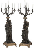 Decorative Arts, French:Lamps & Lighting, A Large Pair of Patinated Bronze Allegorical Six-Light Candelabraafter Clodion, late 19th century in part. Marks: Clodion...(Total: 2 Items)