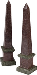 Decorative Arts, Continental:Other , A Large Pair of Red and Green Granite Obelisks, 20th century. 33 hx 7-1/2 w x 7-1/4 d inches (83.8 x 19.1 x 18.4 cm). ... (Total: 2Items)