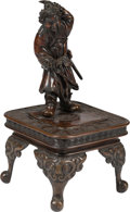 Asian:Japanese, A Japanese Patinated Bronze Figure of a Warrior on Stand. 18-1/2 hx 9 w x 9 d inches (47.0 x 22.9 x 22.9 cm). ... (Total: 2 Items)
