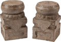 Asian:Chinese, A Pair of Chinese Carved Stone Drum-Form Garden Seats. 19-1/2inches high (49.5 cm). ... (Total: 4 Items)