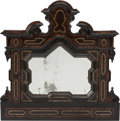 Decorative Arts, Continental:Other , A Pair of Italian Baroque-Style Parcel Ebonized and BurlwoodMirrors with Mother-of-Pearl Inlay, 19th century. 42 h x 40 w i...(Total: 2 Items)