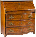 Furniture : Continental, A German Walnut Slant-Front Secretary, 18th century. 44 h x 41-3/4w x 21-1/2 d inches (111.8 x 106.0 x 54.6 cm). ... (Total: 2 Items)