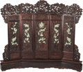 Asian:Chinese, A Large Chinese Five Panel Hardstone Mounted Hardwood Screen:Nine Dragons in Waves, 20th century. 94 h x 110 w ...