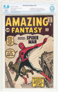 Silver Age (1956-1969):Superhero, Amazing Fantasy #15 (Marvel, 1962) CBCS Restored VG/FN 5.0Off-white pages....