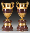 Decorative Arts, French:Other , A Pair of Neoclassical Gilt Bronze and Marble Urns, late 19th-20thcentury. 17-1/4 inches high (43.8 cm). ... (Total: 2 Items)