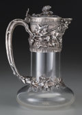 Silver Holloware, French:Holloware, A French Silver Mounted Glass Claret with Trompe L'oeil Design,late 19th century. Marks: (Minerva head), (Mercury), (anchor...