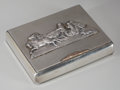 Silver Holloware, Continental, A Russian Silver Cigarette Box with Applied Sleigh Scene, St.Petersburg, Russia, circa 1898-1903. Marks: (84, left facing ...