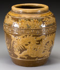 Asian:Chinese, A Large Chinese Glaze Majolica Jar with Dragon and ChrysanthemumMotif. Marks: (incised character marks). 15-1/4 inches high...