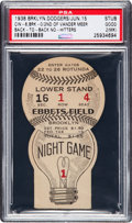 Baseball Collectibles:Tickets, 1938 Brooklyn Dodgers vs. Cincinnati Reds Rare Light Bulb Ticket -Johnny Vander Meer's Second Consecutive No-Hitter & First N...
