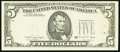 Error Notes:Third Printing on Reverse, Fr. 1980-D $5 1988-A Federal Reserve Note. Choice About Uncirculated.. ...