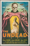 "Movie Posters:Horror, The Undead (American International, 1957). One Sheet (26.75"" X 41""). Horror.. ..."