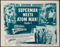 "Movie Posters:Serial, Atom Man vs. Superman (Columbia, 1950). Title Lobby Card (11"" X14"") Chapter 4 -- ""Superman Meets Atom Man."" Serial.. ..."