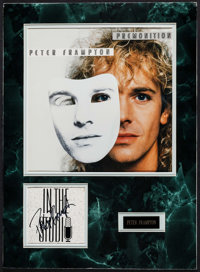 "Peter Frampton: Premonition (1980s). Autographed Card with Album Artwork and Name Plate in Matte (16"" X 22"")..."